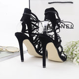 Trendy Edgy Black Cross Suede Lace High Heels