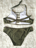 Trendy Olive Stylish Halter Tank Swimsuit Bikini