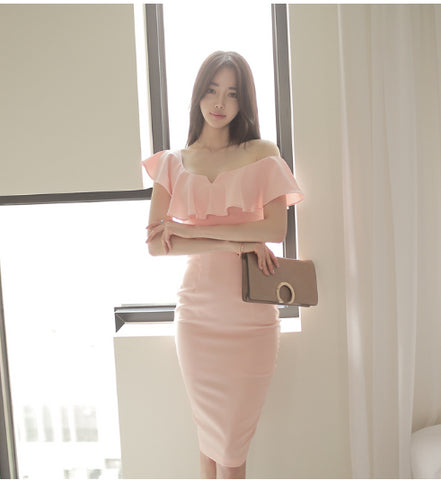 Trendy V Neck Elegant Slim Hip Dress