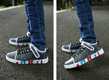 Mens Trendy Low-Top Velcro Strap Sneakers
