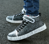 Mens Trendy Mid-Top Velcro Strap Sneakers