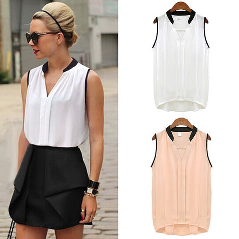 Simple Elegant V-Neck Chiffon Blouse Top