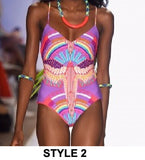 Trendy Vibrant Design Pattern One-Piece Monokini Swimsuit