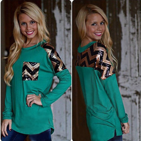 Trendy ZigZag Teal Long Sleeve Shirt