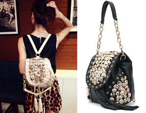 Womens Stunning Jeweled Bling Handbag Backpack
