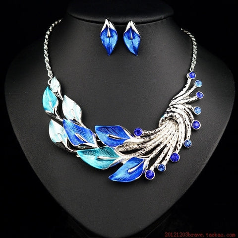 Floral Metal Drip Necklace Set