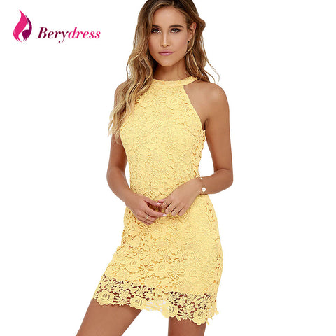 Womens Elegant Wedding Party Sexy Night Club Halter Neck Sleeveless Sheath Bodycon Lace Dress