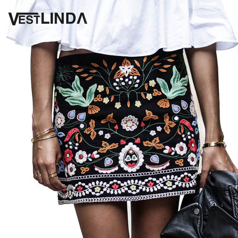 Womens Embroidered Vintage Pencil Short High Waist Black Boho Mini Casual Floral Embroidery Skirt