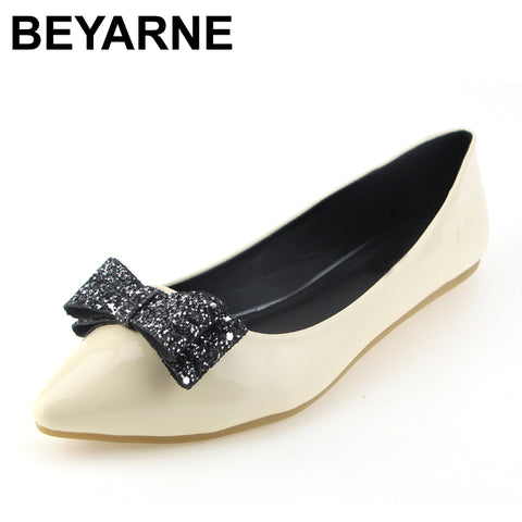 Womens New Fashion Soft Leather Flats Canvas Black Pointy Toe Ballerina Ballet Flat Slip On Shoes