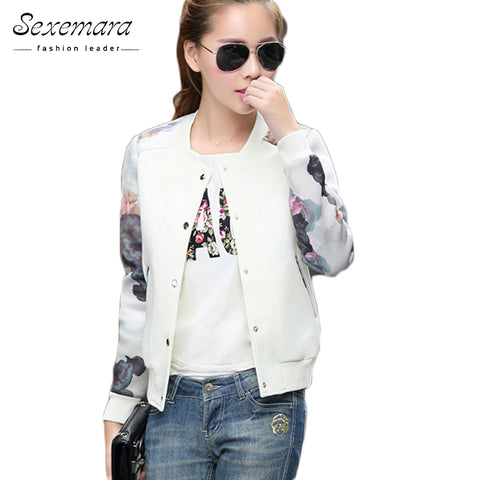 Womens Top Flower Print Casual Baseball Button Thin Bomber Long Sleeves Coat Jacket