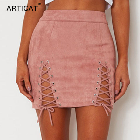 Womens Sexy Lace Up Leather Suede Vintage Cross Zipper Split Mini Skirt