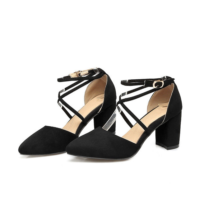 5952db78ae Womens Pumps Gladiator Ankle Strap High Heels Cross-tied Thick Heel Pointed  Toe Two Piece