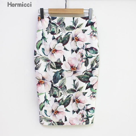 Womens Summer Style Pencil High Waist Green Vintage Elegant Bodycon Floral Print Midi Skirt