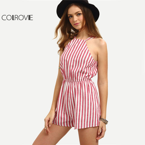 Womens Sleeveless Summer Style Beach Rompers Jumpsuit Sexy Vertical Stripe Backless Cutaway Romper