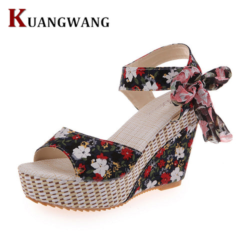 Womens New Shoes Sandals Summer Open Toe Fish Head Fashion Platform High Heels Wedge Sandals