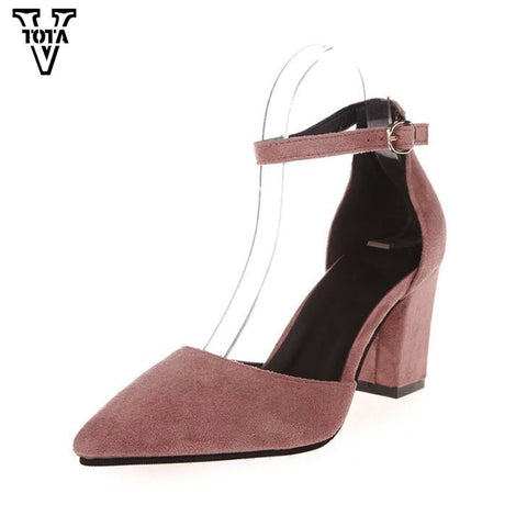 Womens Fashion High Heels Pumps Summer Thick Heel Pumps Comfortable Shoes