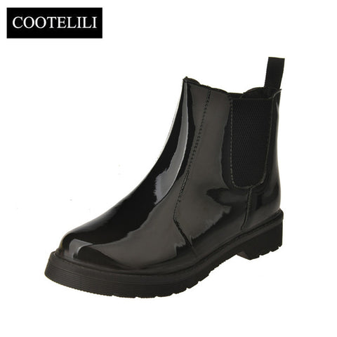 Womens Ankle Flat Heels Casual Shoes Patent Leather Boots