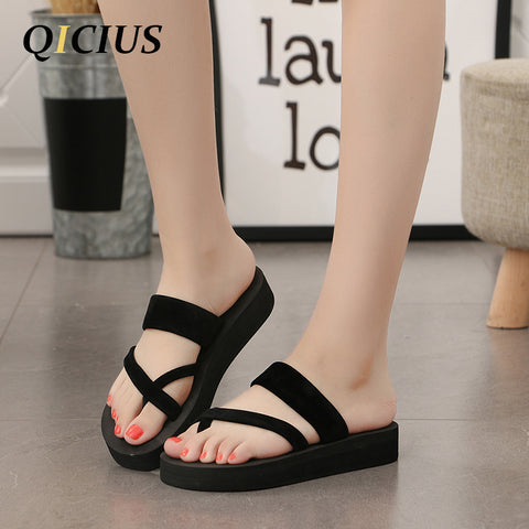 Womens New Solid Black Shoes Sandal Flip Flops Wedge Sandals Platform Beach Slippers