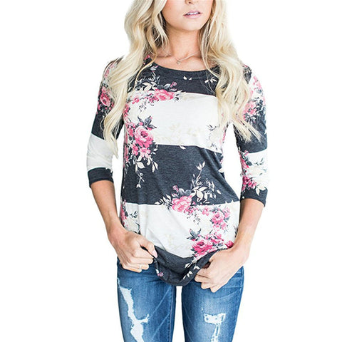 Womens Fashion Casual Long Sleeve Printed Floral Flower T Shirt Top