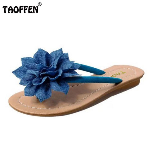 Womens Slip On Flip Flop Flower Summer Casual Sandals