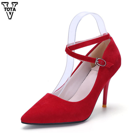 Womens High Heels Pumps Party Cross-tied Shoes