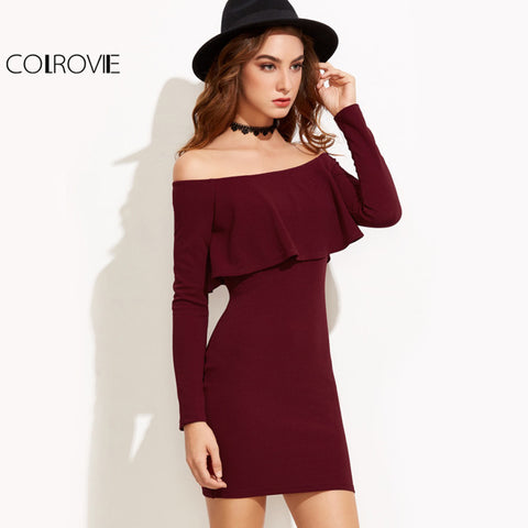 Womens Long Sleeve Mini Autumn Winter Sexy Party Burgundy Off Shoulder Ruffle Bodycon Dress