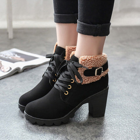 Womens Winter Plush Warm Solid Color Lace up Boots