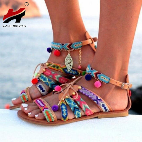 Womens Bohemian Summer Pompon Gladiator Roman Strappy Embroidered Shoes Flat Sandals