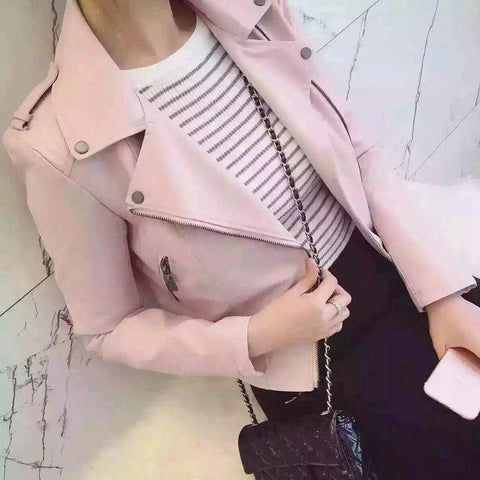 Womens New Fashion Casual Motorcycle Faux Soft Leather Jacket
