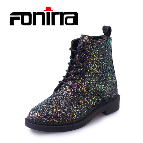 Womens Ankle Casual Bling Autumn Glitter Lace up Boots