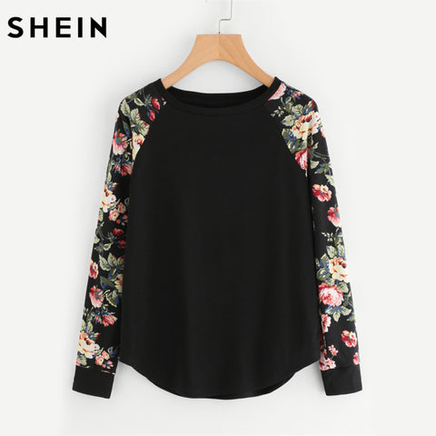 Womens Floral Raglan Sleeve Curved Hem Tee Shirt