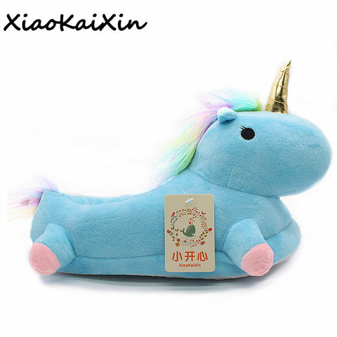 Womens Lovely Cartoon Home Slippers Warm Soft Cotton Plush Indoor Unicorn House Shoes