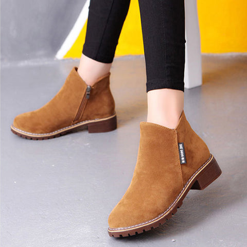 Womens Ankle Low Heel Nubuck Leather Fashion Short Boots