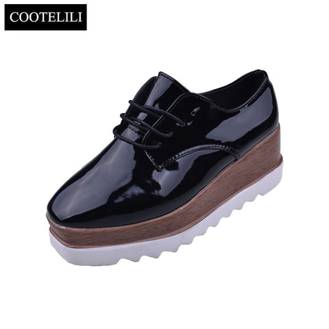 Womens Casual Solid Flat Shoes Patent Leather Lace-Up Flat Platforms British Style Ladies Oxfords