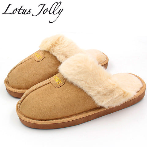 Womens Winter Plush Home Shoes Couples Fur Slippers