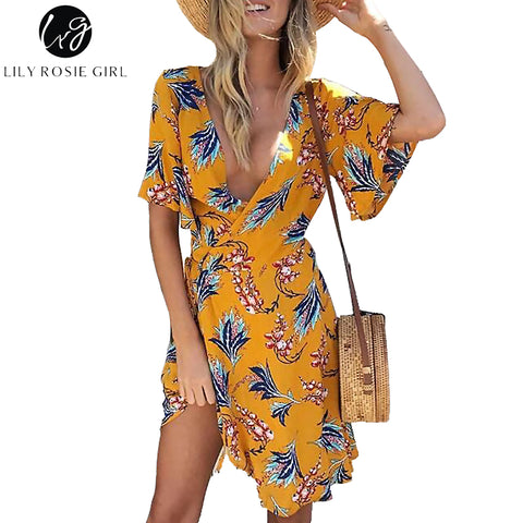 Womens Yellow Print Wrap Flare Short Sleeve Floral Mini Summer Dress