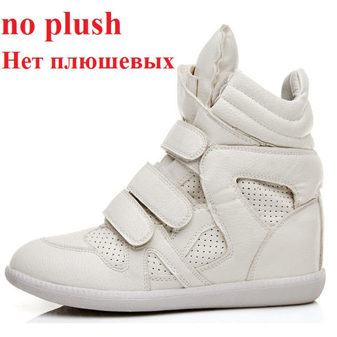 Womens High Top Sneakers Casual Height Increased Leather Wedge Shoes