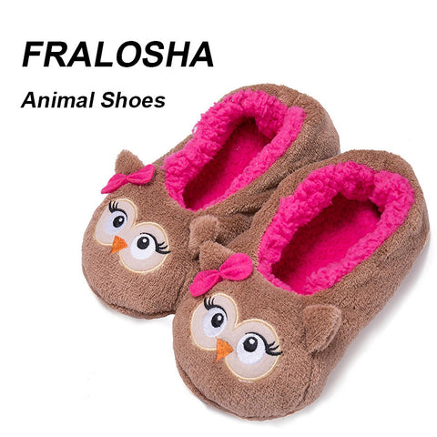 Womens Warm Soft Sole Indoor Floor Animal Shape Pink Red Brown Flannel Home Slippers