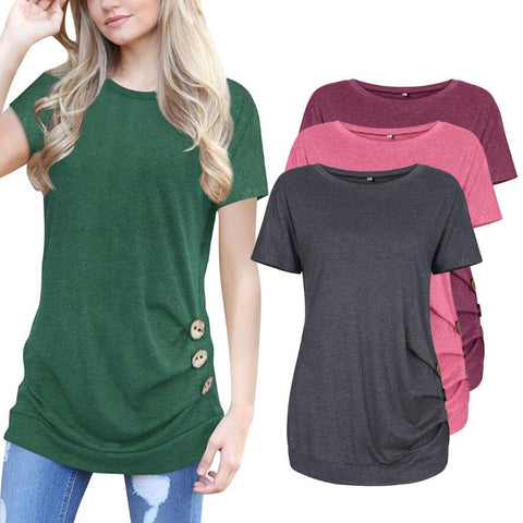 Womens Fashion Casual T-shirt O-neck Short Sleeve Button Design Long Shirt Plus Size Top