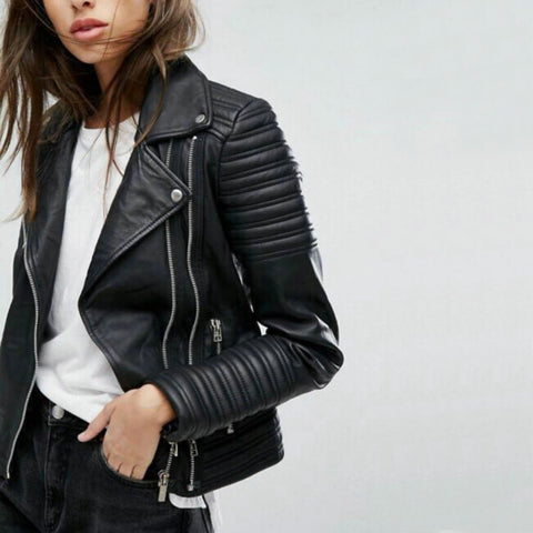 2018 Womens New Fashion Smooth Motorcycle Faux Leather Jacket