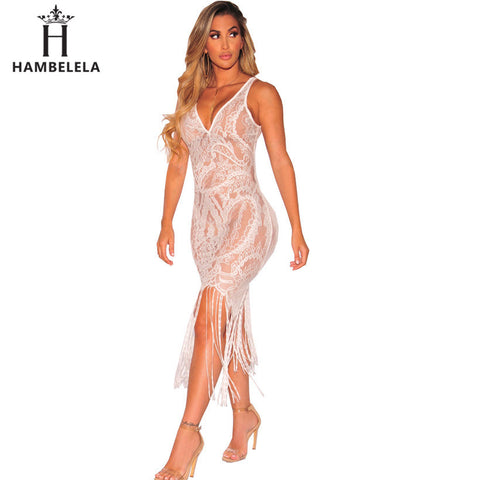 Womens Sexy See Through Lace Bodycon V-Neck Strap Tassel Maxi Dress