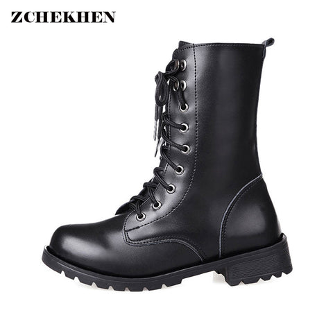 Womens Lace Up Round Toe PU Leather Boots