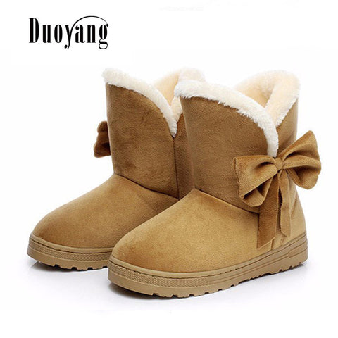 Womens Winter Fashion Bow Short Snow Boots