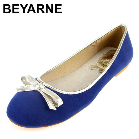 Womens Slip On Faux Suede Ballerina Flats Bowtie Round Toe Fashion Comfort Casual Ladies Shoes