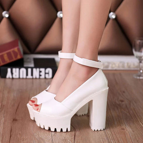 Womens Platform High Heel Peep Toe Ankle Strap Square Heel Shoes