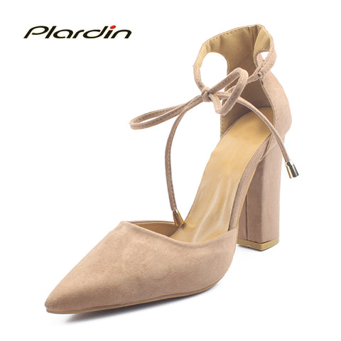 Womens Stylish Sexy String Tie Point Toe Ankle Strap High Heels