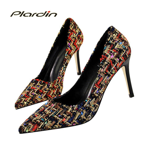 Womens Stylish Design Casual Thin High Heel Dress Shoes