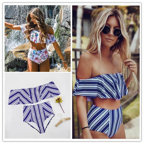 Womens Sexy High Waist Swimwear Striped Ruffled Swim Bathing Suit White Blue Swimsuit Vintage Bikini