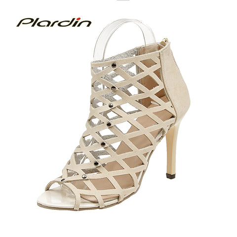 Womens Sexy Peep Toe High-heeled Mesh Rivet Gladiator Dress Shoes