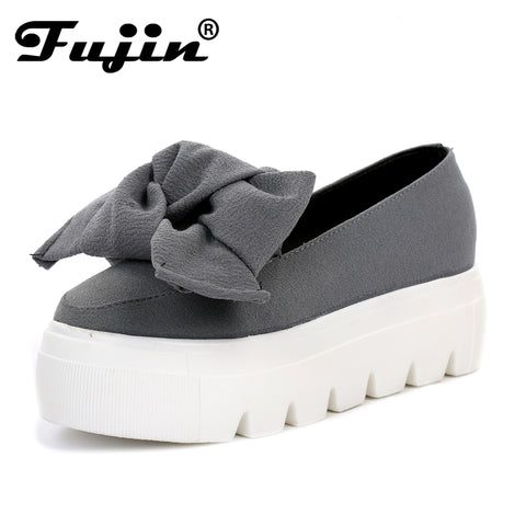 Womens Cute Ribbon Platform Slip On Casual Shoes